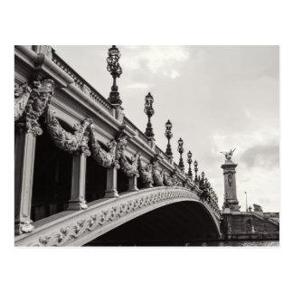 Pont Alexandre III Black and White Paris Postcard
