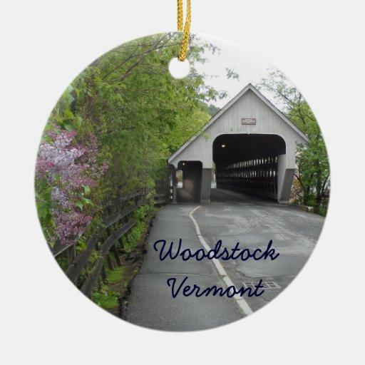 Pont couvert de Woodstock, Vermont Décorations De Noël