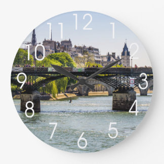 Pont Des Arts, River Seine in Paris, France Large Clock