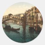 Pont I, Venise, Italie de Rialto Autocollants Ronds