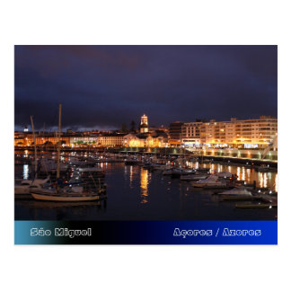 Ponta Delgada at night Postcard