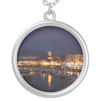 Ponta Delgada at night Silver Plated Necklace