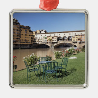 Ponte Vecchio and table along Arno Rive Metal Ornament