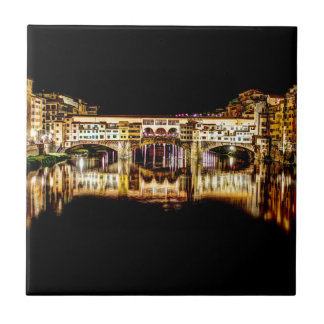 Ponte Vecchio by night Ceramic Tile