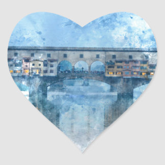 Ponte Vecchio on the river Arno in Florence, Italy Heart Sticker