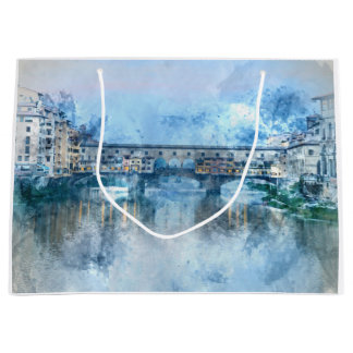 Ponte Vecchio on the river Arno in Florence, Italy Large Gift Bag