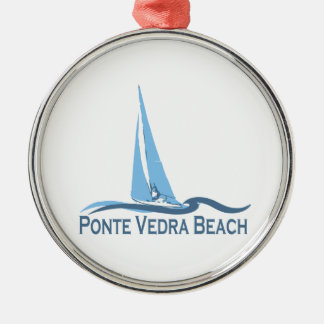Ponte Vedra Beach. Silver-Colored Round Ornament