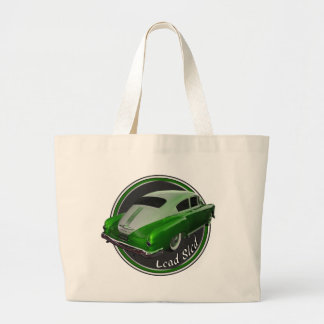 pontiac lead sled green metal flake lowrider large tote bag