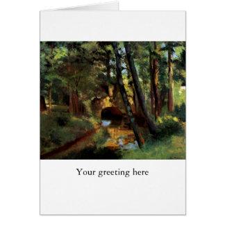 Pontoise France art Pissarro painting small bridge Card