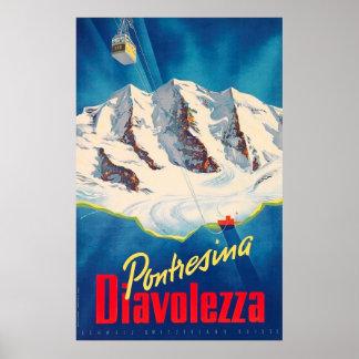 Pontresina Diavolezza Switzerland Vintage Travel Poster