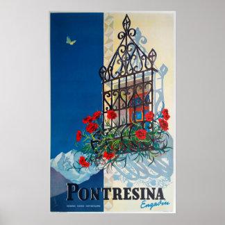 Pontresina - Switzerland, Vintage Travel Poster