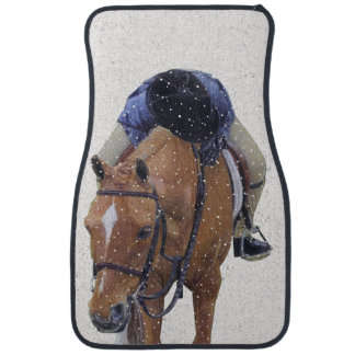 Pony and Girl in Snow Floor Mat