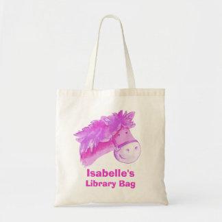 Pony bag purple & cream tote library bag