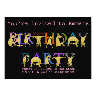 Pony Birthday party invitation, bright colored Card