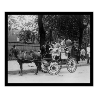 Pony Cart Girl and Dogs 1921 Poster