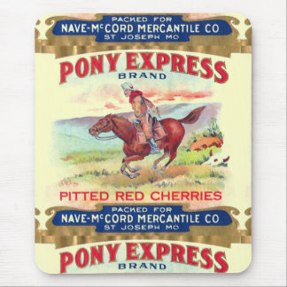 Pony Express Cherries Vintage Label Advertisement Mouse Pad