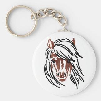 Pony Head Larger Basic Round Button Keychain
