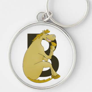Pony Monogram Letter B Silver-Colored Round Keychain