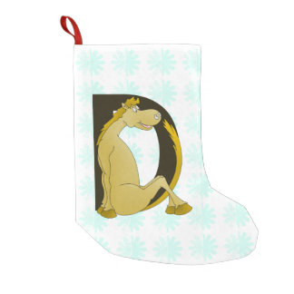 Pony Monogram Letter D Personalized Small Christmas Stocking