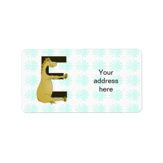 Pony Monogram Letter E Personalized