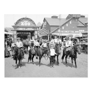 Pony Riders at Coney Island, 1904 Postcard