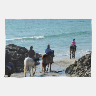 Pony trekking along the beach kitchen towel