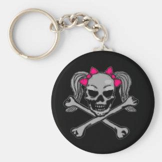 Ponytail skull w/ pink bows keychain