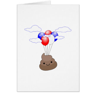 Poo Emoji Flying With Balloons Card
