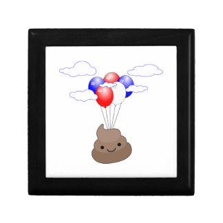 Poo Emoji Flying With Balloons Gift Box