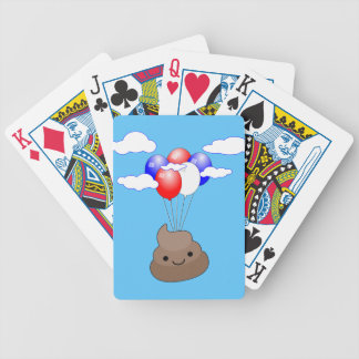 Poo Emoji Flying With Balloons In Blue Sky Bicycle Playing Cards