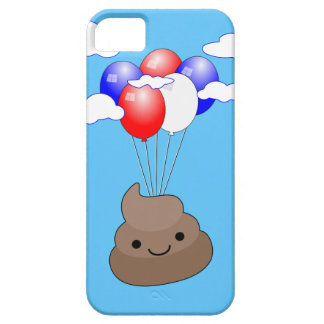 Poo Emoji Flying With Balloons In Blue Sky Case For The iPhone 5