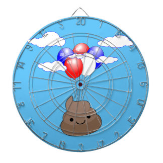 Poo Emoji Flying With Balloons In Blue Sky Dartboard