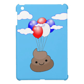 Poo Emoji Flying With Balloons In Blue Sky iPad Mini Cover
