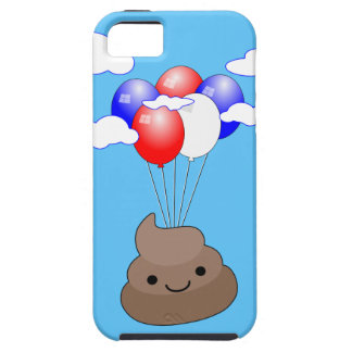 Poo Emoji Flying With Balloons In Blue Sky iPhone 5 Cases