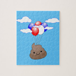 Poo Emoji Flying With Balloons In Blue Sky Jigsaw Puzzle