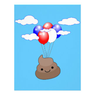 Poo Emoji Flying With Balloons In Blue Sky Letterhead