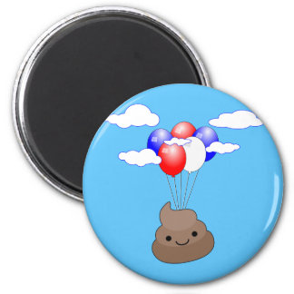 Poo Emoji Flying With Balloons In Blue Sky Magnet