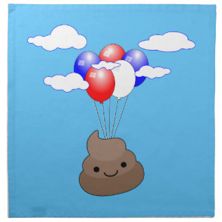 Poo Emoji Flying With Balloons In Blue Sky Napkin
