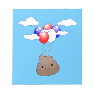 Poo Emoji Flying With Balloons In Blue Sky Notepad