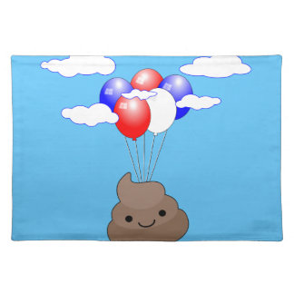 Poo Emoji Flying With Balloons In Blue Sky Placemat
