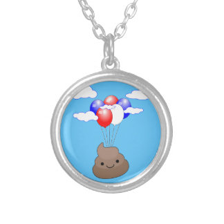 Poo Emoji Flying With Balloons In Blue Sky Silver Plated Necklace