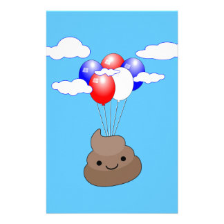 Poo Emoji Flying With Balloons In Blue Sky Stationery