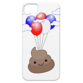 Poo Emoji Flying With Balloons iPhone 5 Case