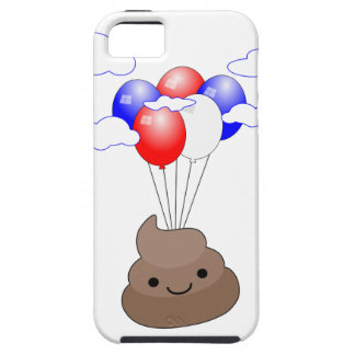 Poo Emoji Flying With Balloons iPhone 5 Covers