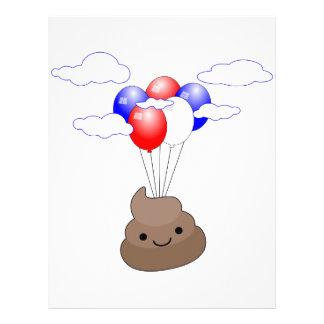 Poo Emoji Flying With Balloons Letterhead