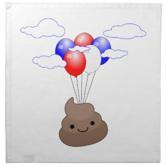 Poo Emoji Flying With Balloons Napkin
