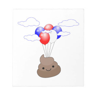 Poo Emoji Flying With Balloons Notepad
