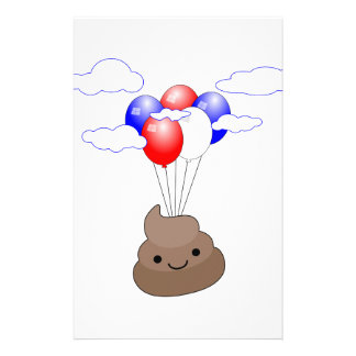Poo Emoji Flying With Balloons Stationery