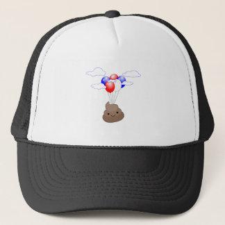 Poo Emoji Flying With Balloons Trucker Hat