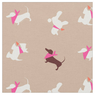 Pooches In Pink Swiss Mocha Fabric